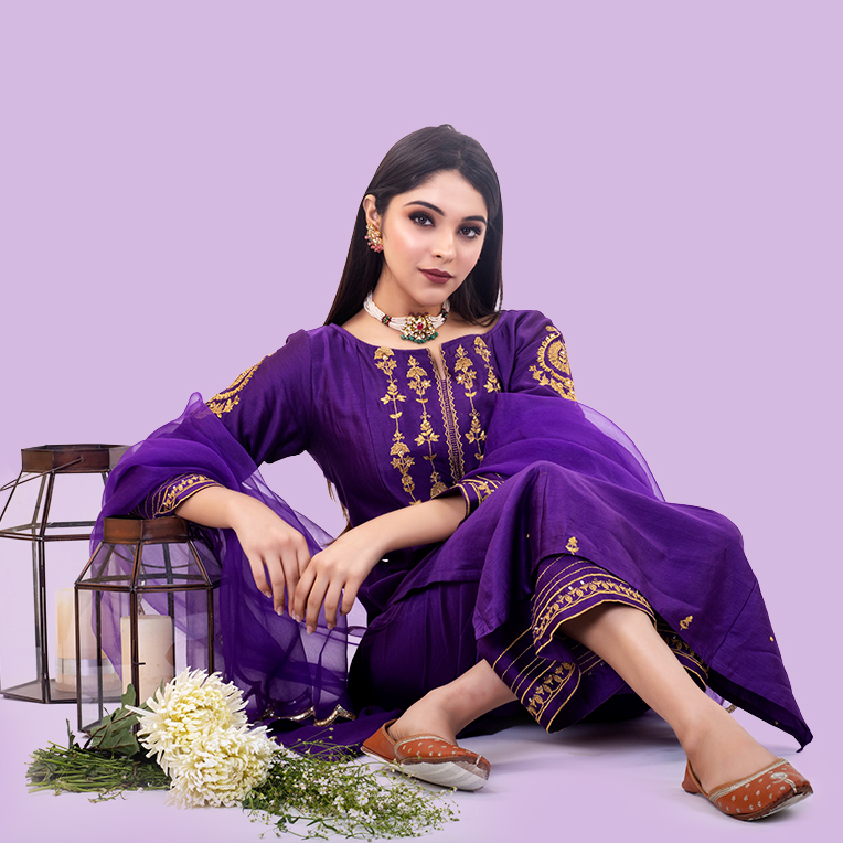 1PURPLE HAND EMBROIDERED CHANDERI SILK KURTA WITH SILK PALAZZO AND ORGANZA DUPATTA- SET OF 3