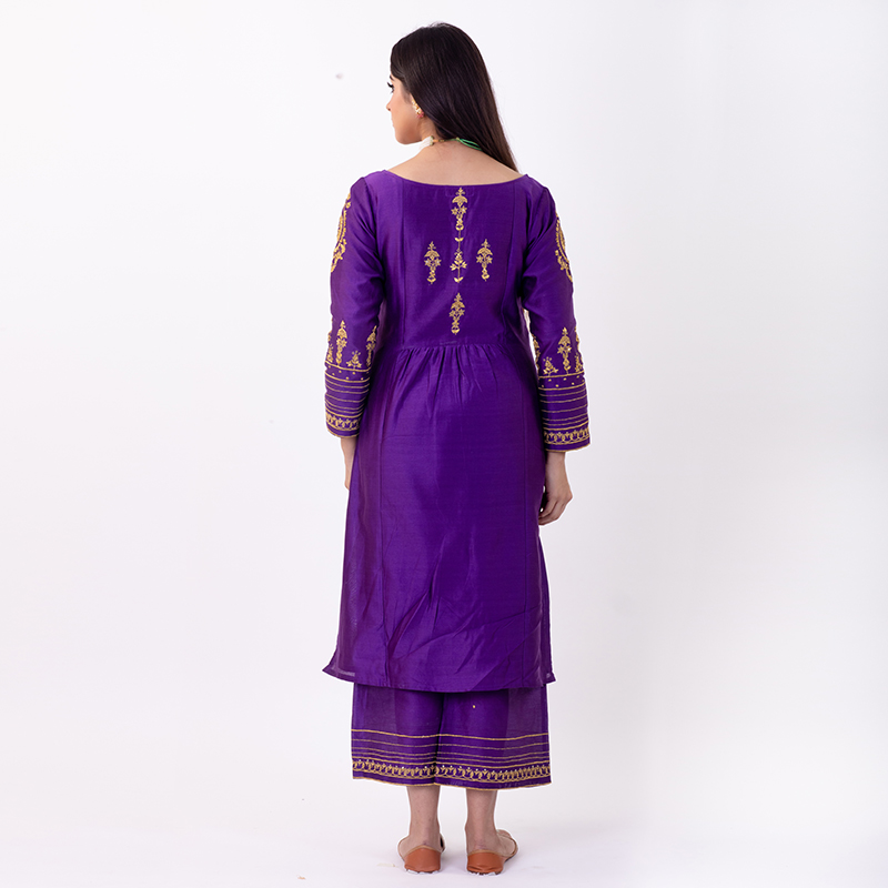 Purple hand embroidered chanderi silk kurta with silk pallazzo and organza dupatta- Set of 3