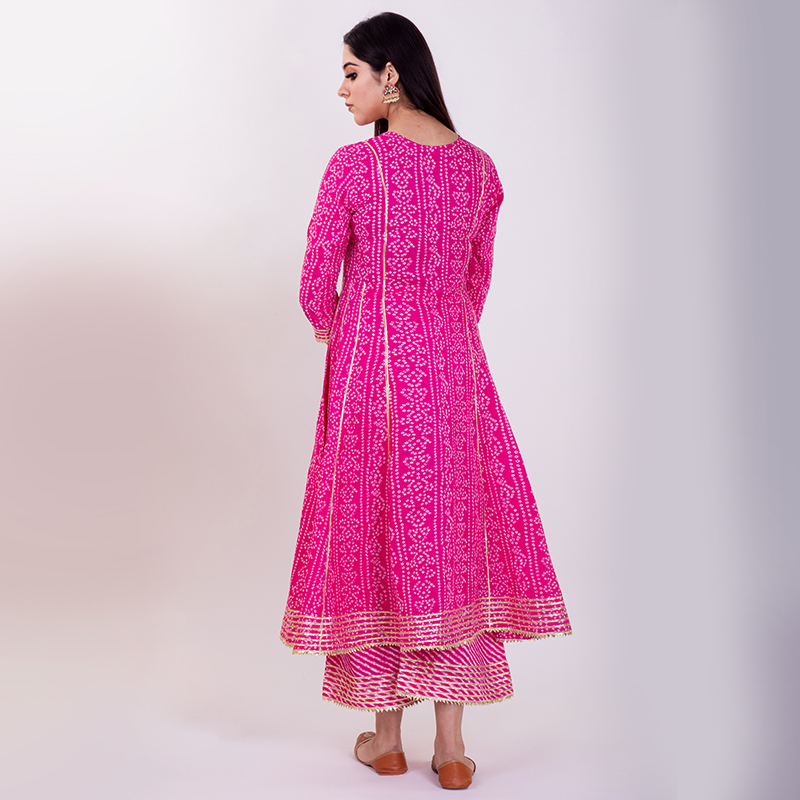 Pink hand embroidered bandhani cotton anarkali with pallazzo and dupatta- Set of 3