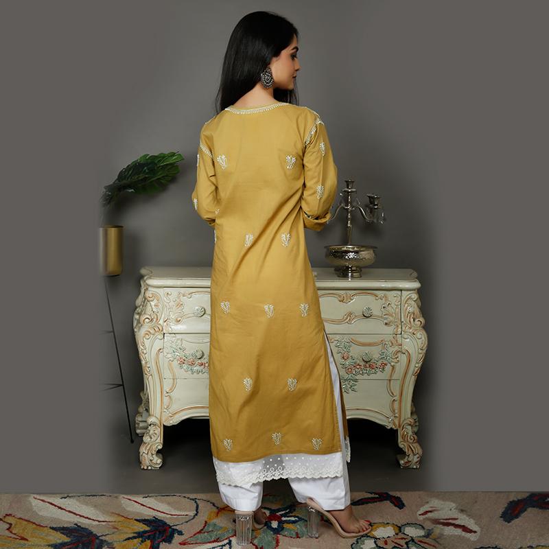 Brown chikankari cotton kurta with white palazzo- Set of 2