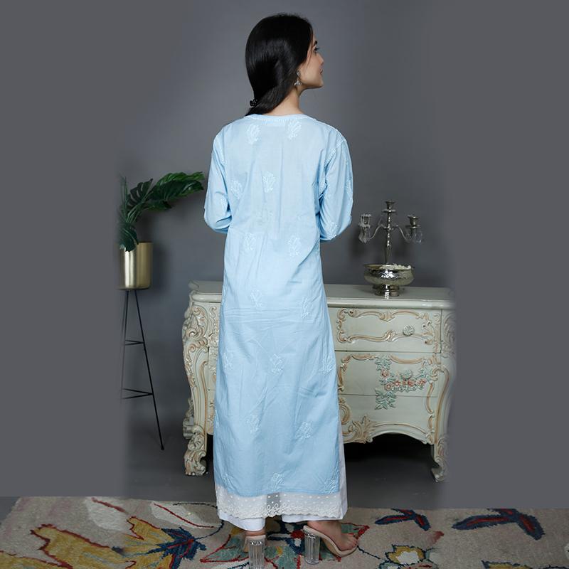 Blue chikankari cotton kurta