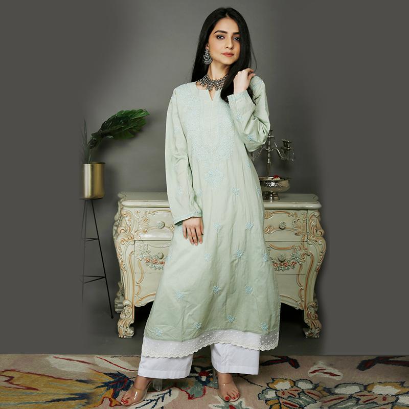Light Green chikankari cotton kurta with white pallazzo- Set of 2