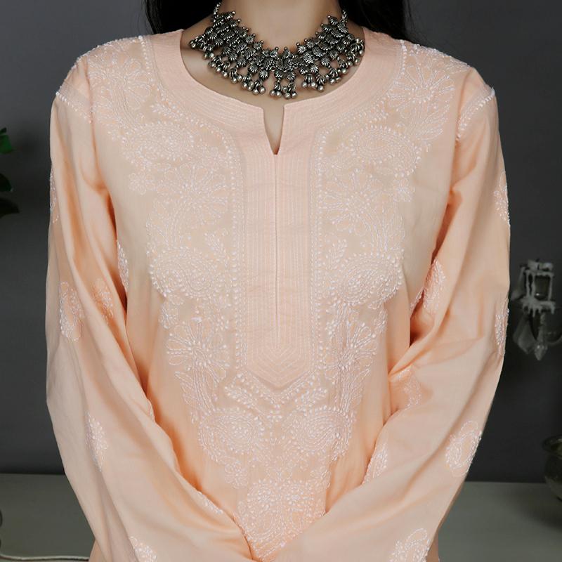 Peach chikankari cotton kurta with white pallazzo- Set of 2