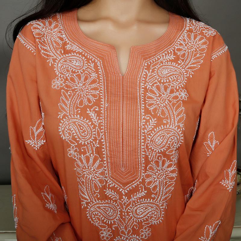 Rust orange chikankari cotton kurta with white pallazzo- Set of 2