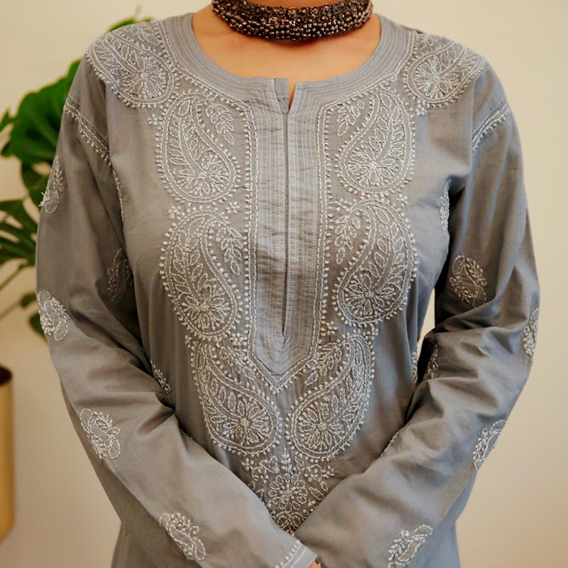 Grey chikankari cotton kurta