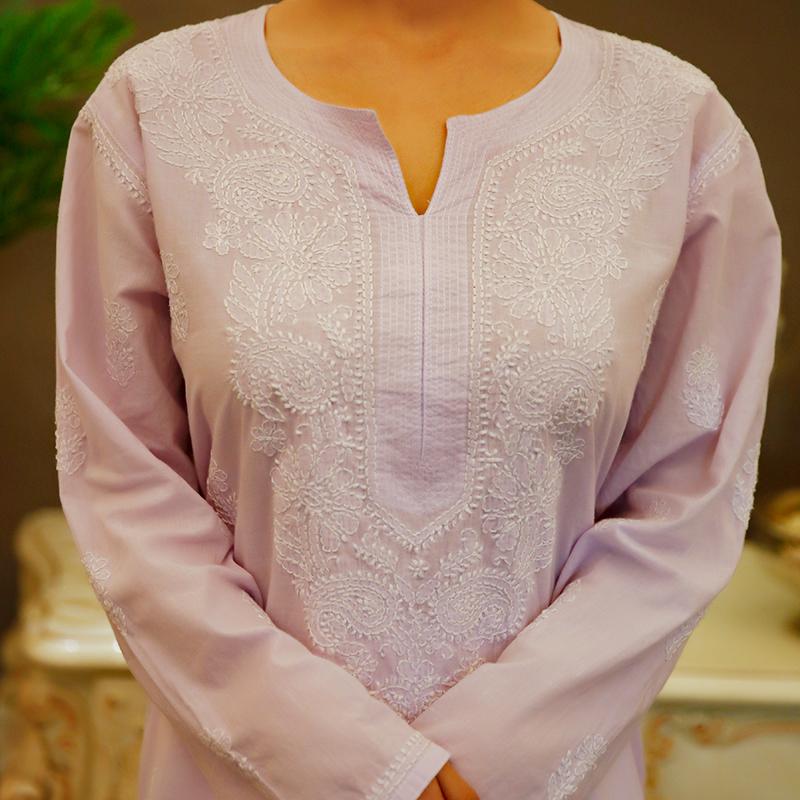 Purple chikankari cotton kurta with white pallazzo- Set of 2