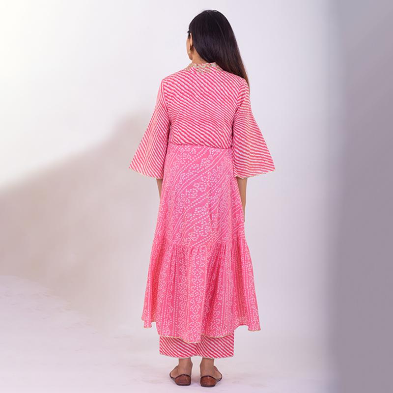 Light Pink hand embroidered tiered bandhani cotton kurta with palazzo - Set of 2