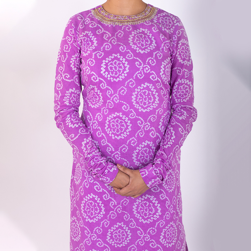 Purple hand embroidered bandhani cotton kurta with pallazzo- Set of 2