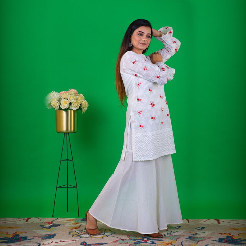 Floral Printed White Short Kurta with White Palazzos- Set of 2