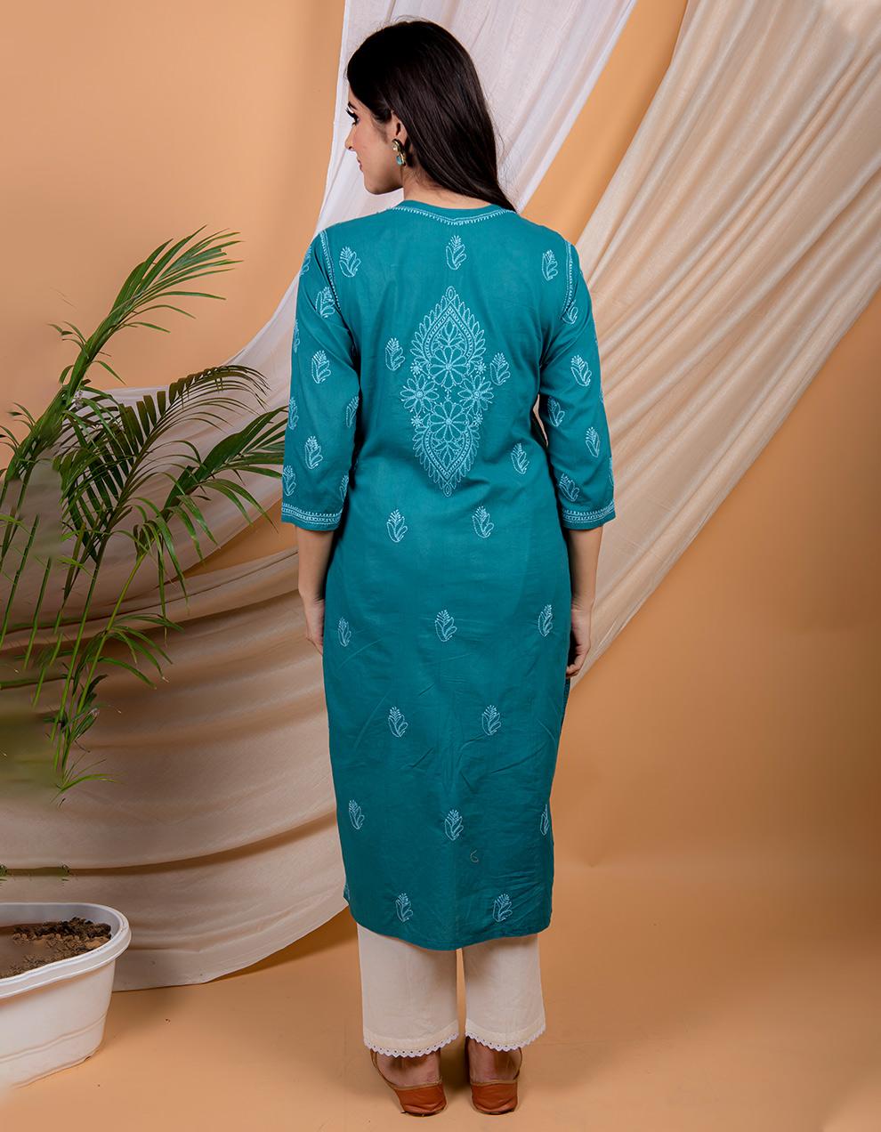 Buy best Fiza Teal blue chikankari cotton kurta designs in India
