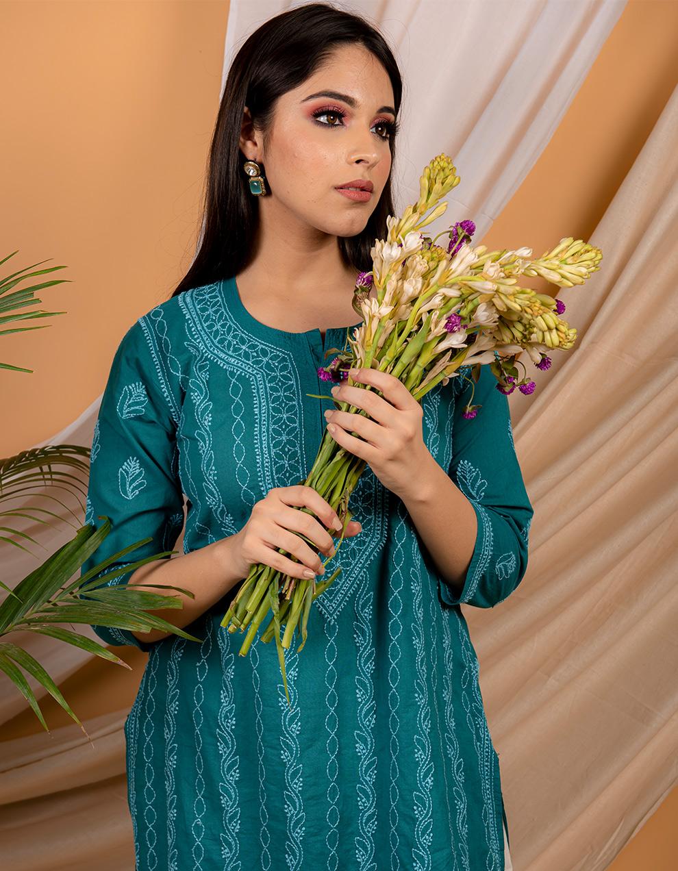 Trendy look Fiza Teal blue chikankari cotton kurta for ladies