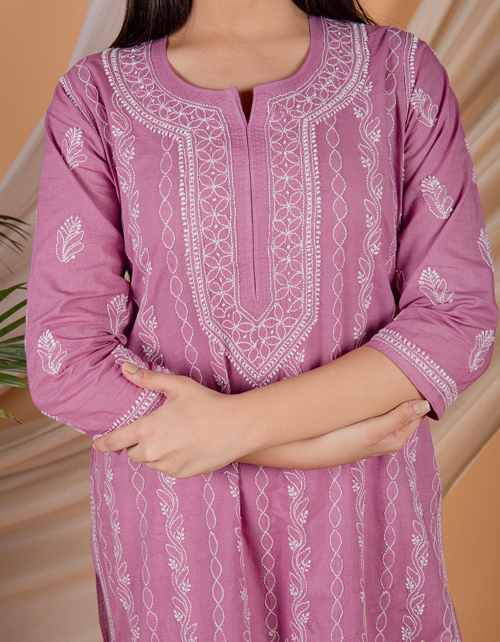 Fiza Purple chikankari cotton kurta with white pants Set