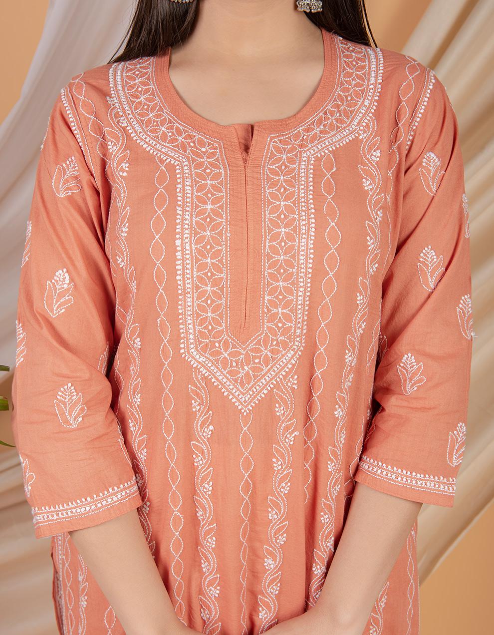 Fiza Rust orange chikankari cotton kurta