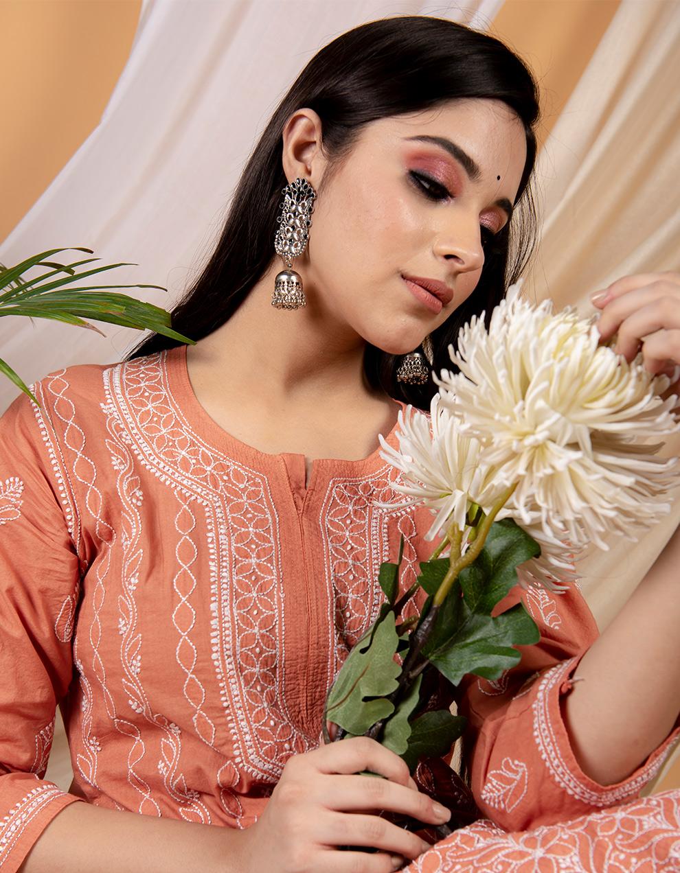 Trendy look Fiza rust orange chikankari cotton kurta designs for ladies