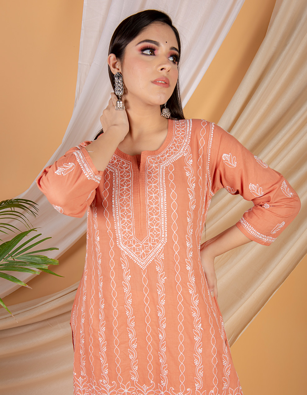 Fiza Rust orange chikankari cotton kurta with white pants- Set of 2