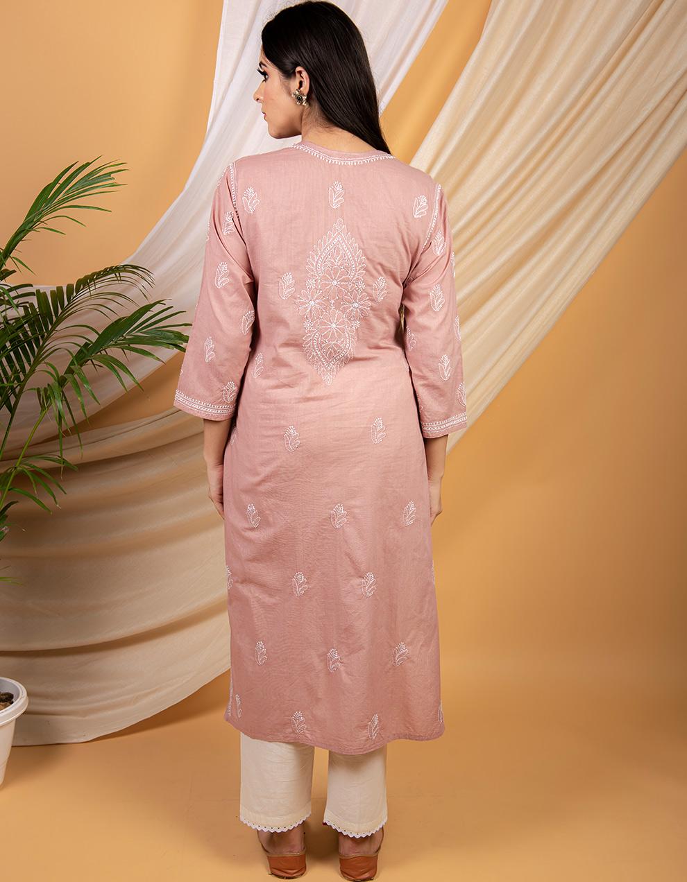 Fiza Dusty pink chikankari cotton kurta with white pants- Set of 2