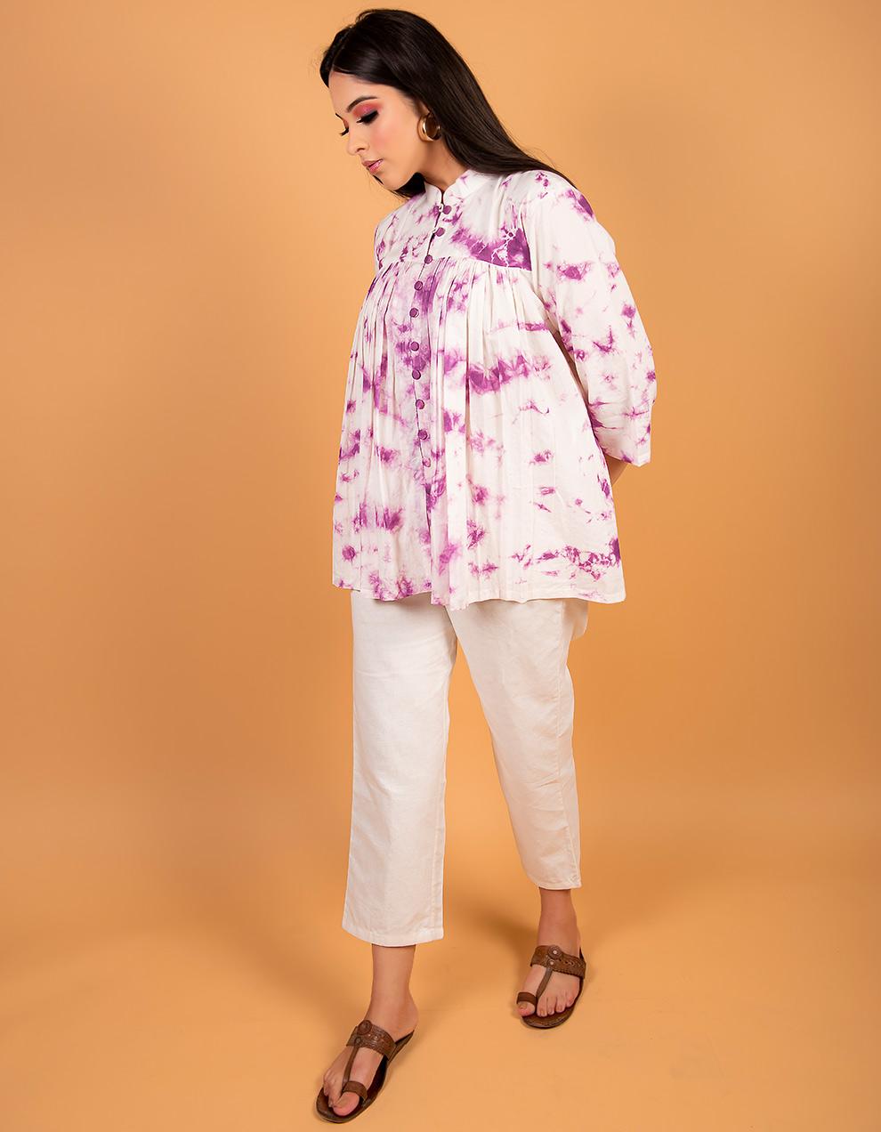 Purple cotton Kurta with white cotton pant