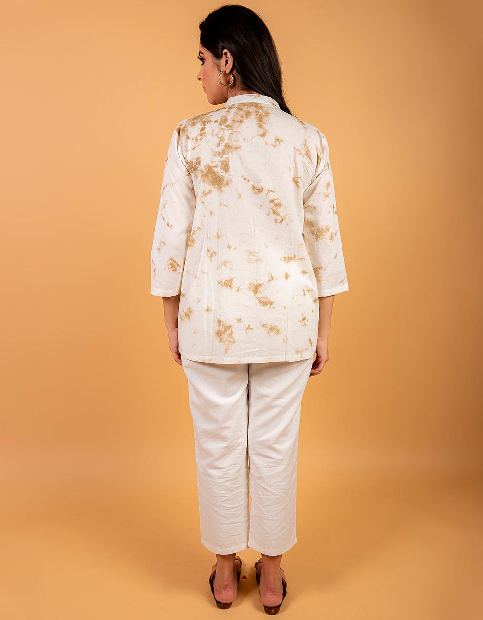 Brown cotton Kurta with white cotton pant