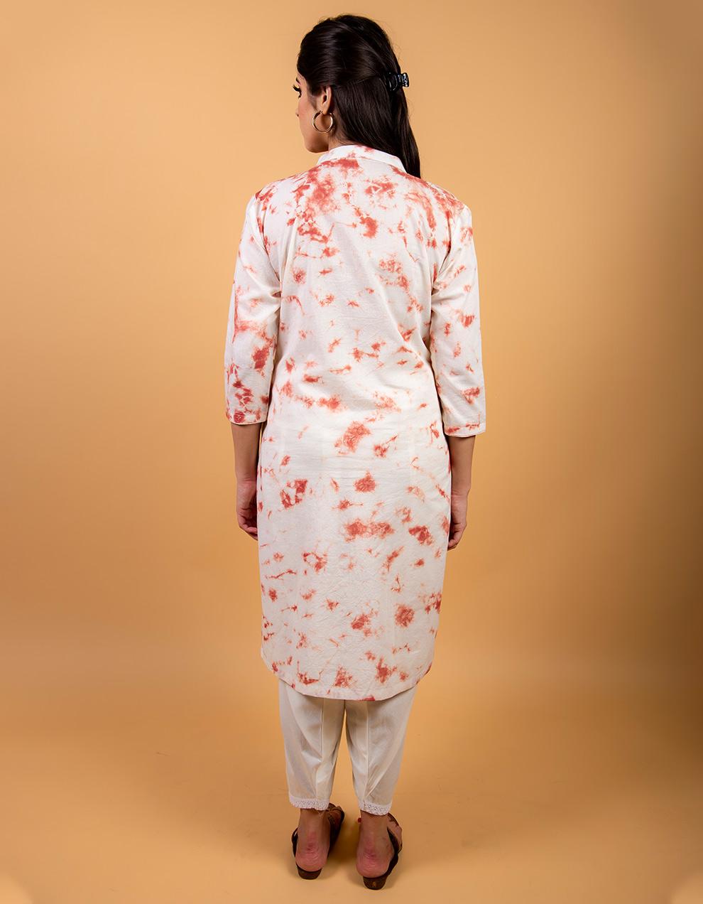 Rust Kurta with white cotton Salwar