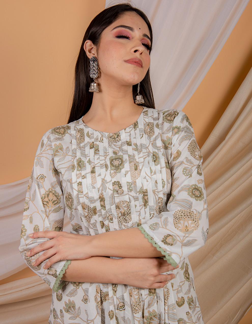green cotton kurta designs