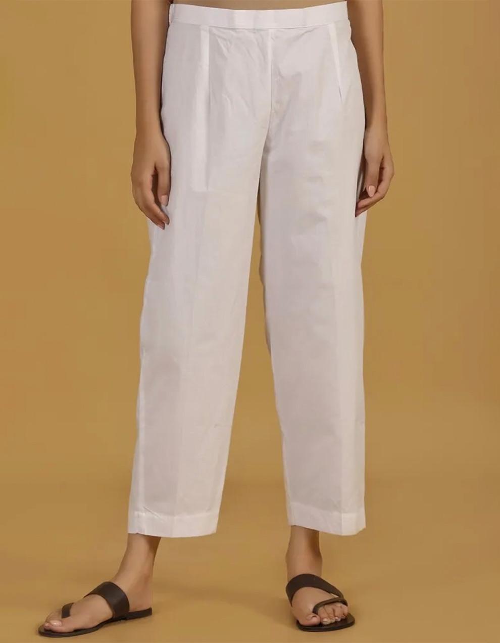 White cotton linen pant