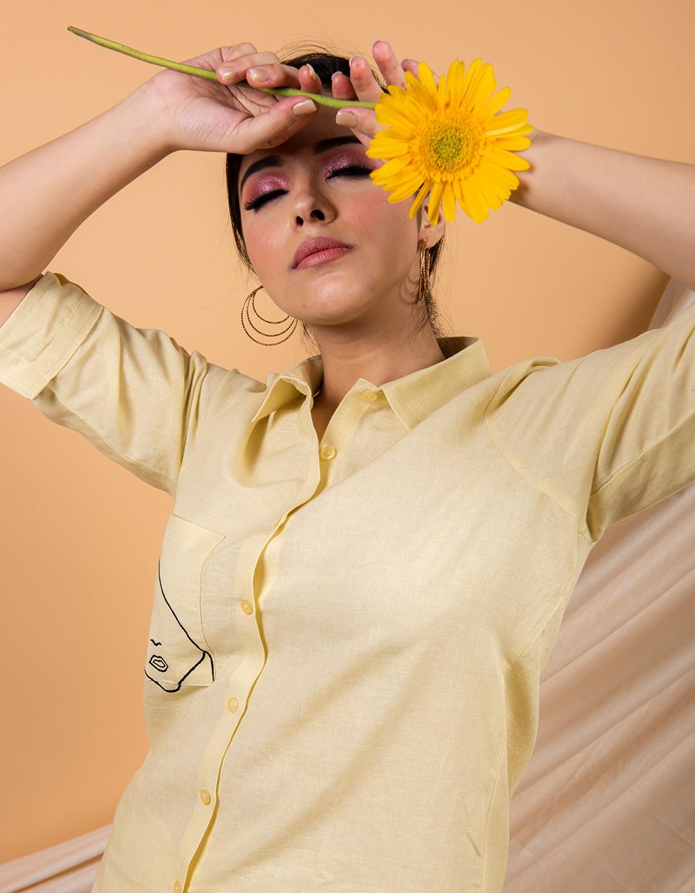 Yellow cotton linen shirt