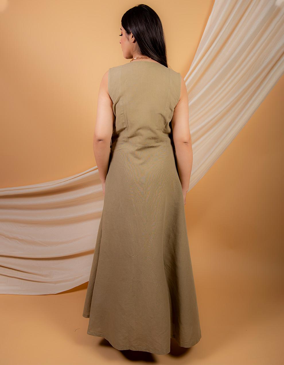 Olive green cotton linen  jumpsuit