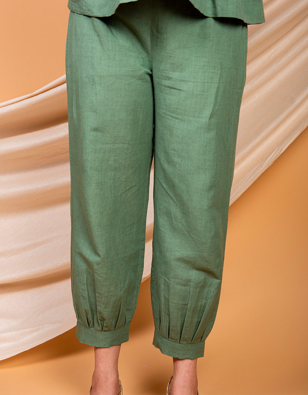 Green cotton linen Pants