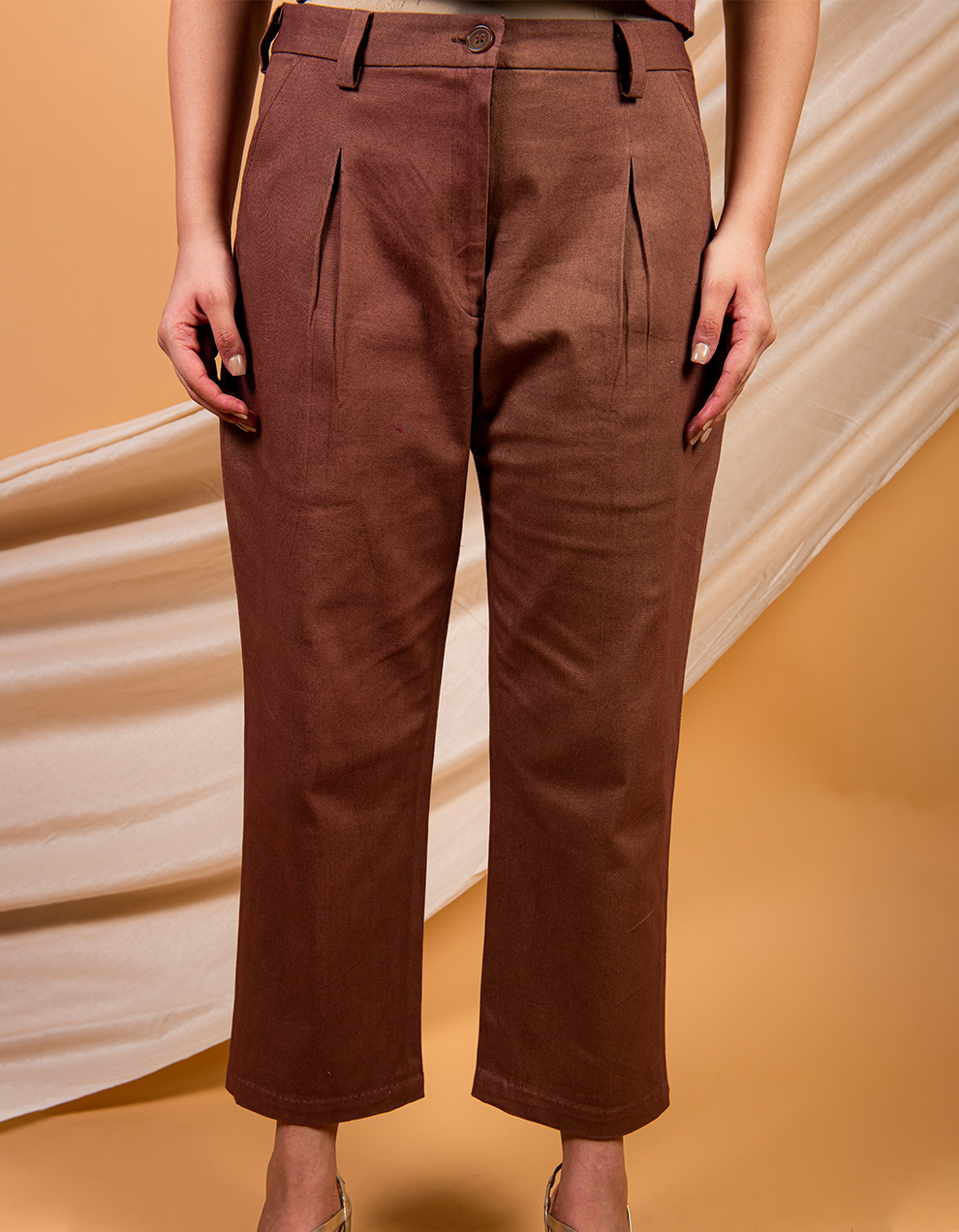 Brown cotton twill pant
