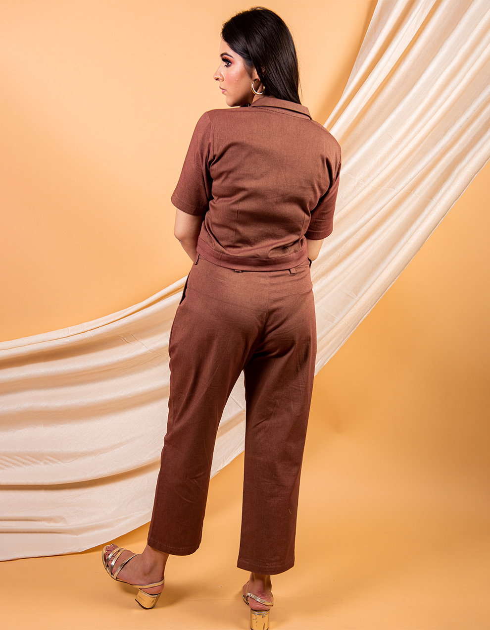 Brown classic cotton twill crop shirt