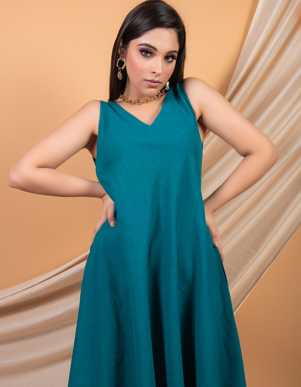 Teal Blue cotton linen A-line dress with pockets in the side