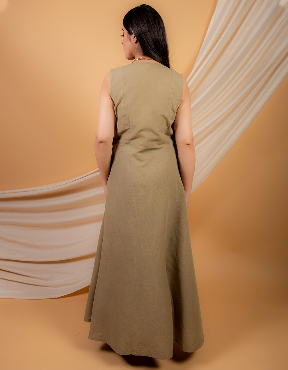 Olive green cotton linen  jumpsuit with cape-  Set of 2