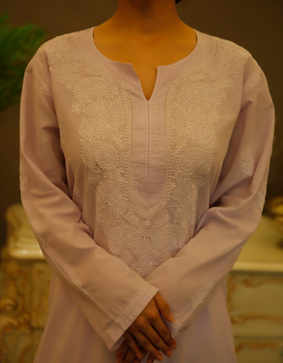 Purple Chikankari cotton kurta with white palazzo- Set of 2