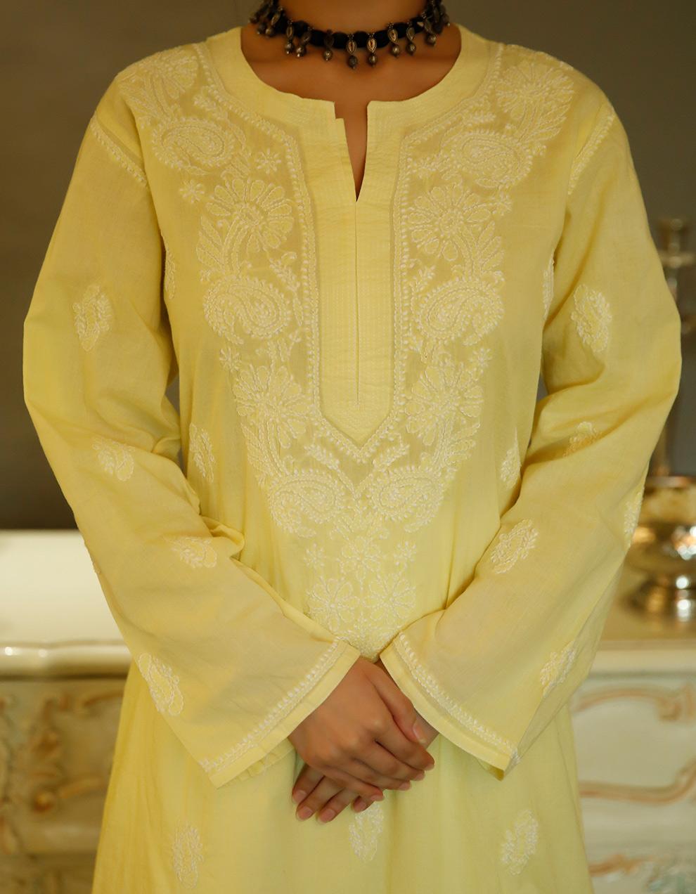 Yellow chikankari cotton kurta with white pallazzo- Set of 2