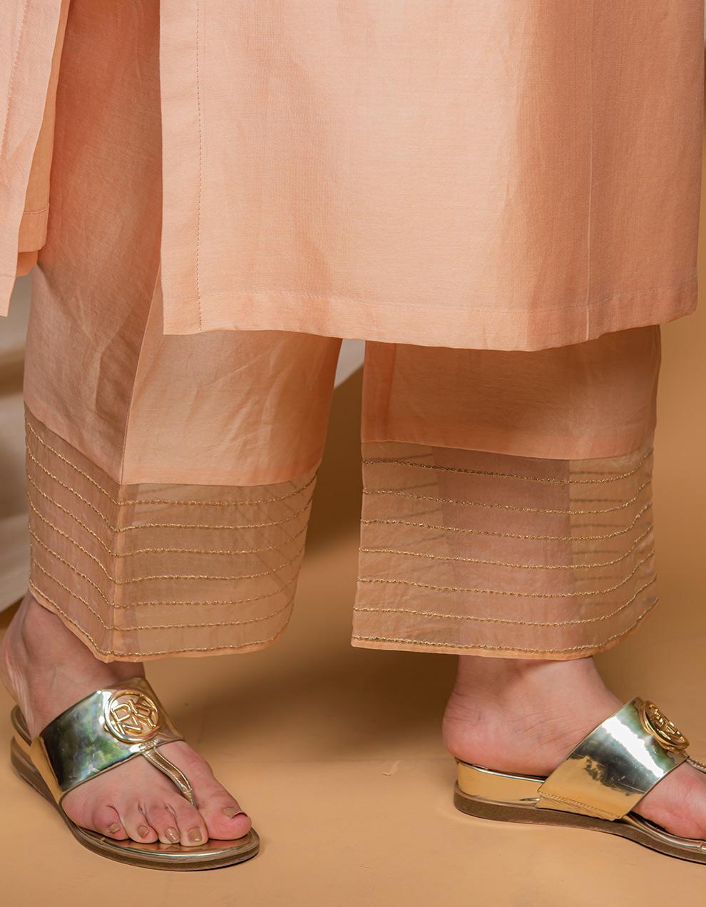 Peach chanderi silk palazzo