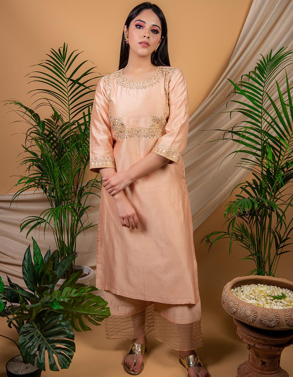Peach  chanderi silk kurta with silk pallazzo - Set of 2