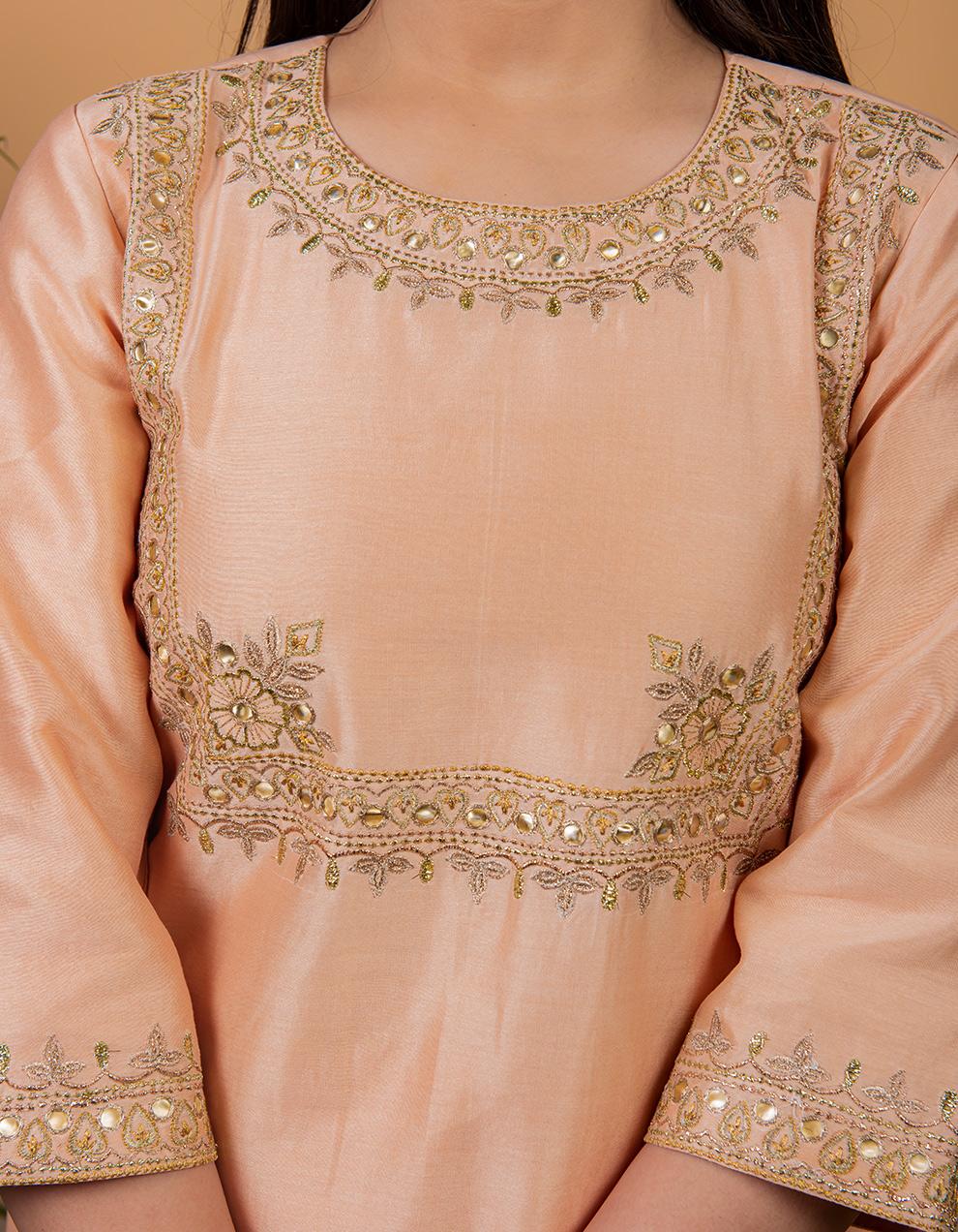 Peach Chanderi Silk Kurta with Silk Palazzo - Set of 2
