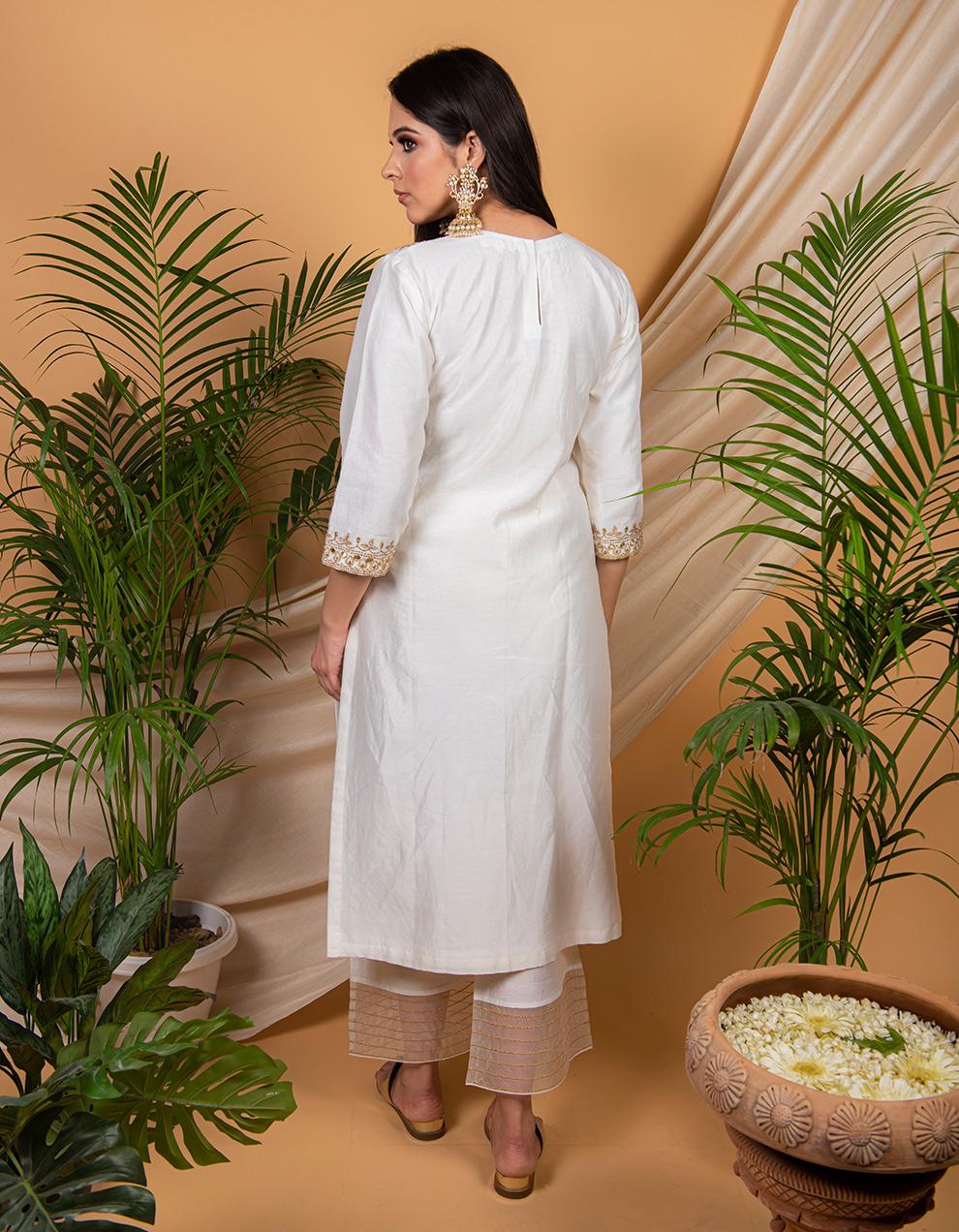 White  chanderi silk kurta with silk pallazzo - Set of 2