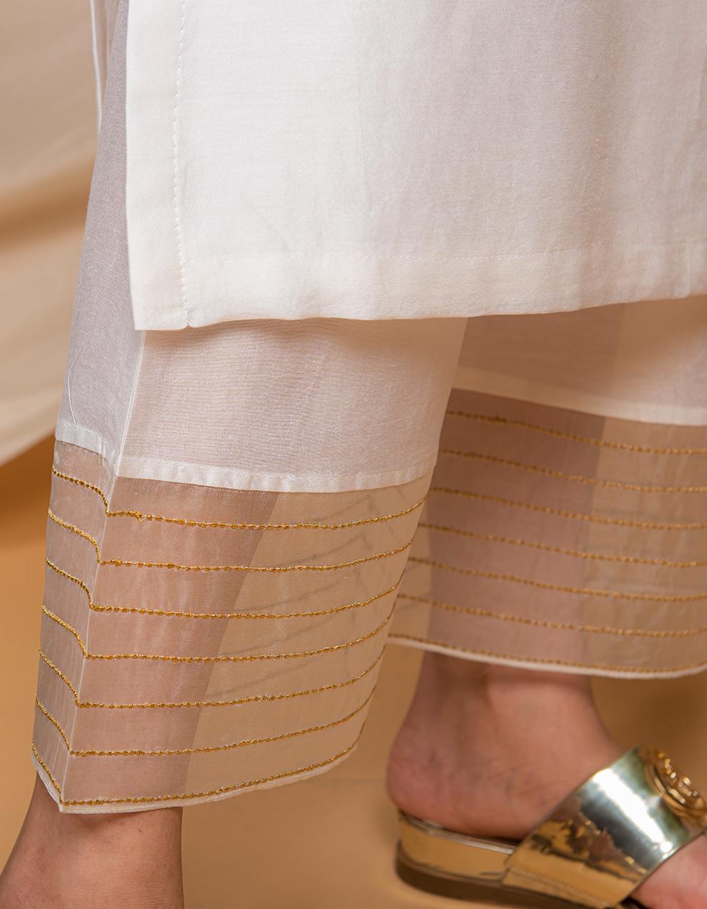 White  chanderi silk kurta with Silk Palazzo - Set of 2