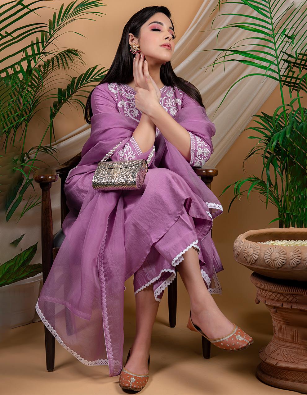 Purple embroidered chanderi silk kurta