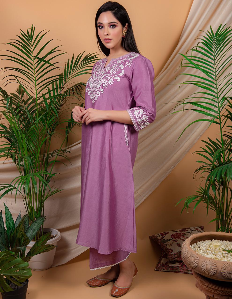 Purple  embroidered chanderi silk kurta with silk pallazzo and organza dupatta- Set of 3