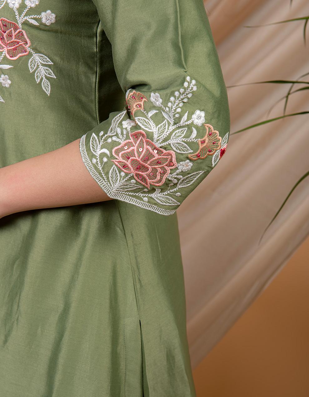 Green chanderi silk kurta