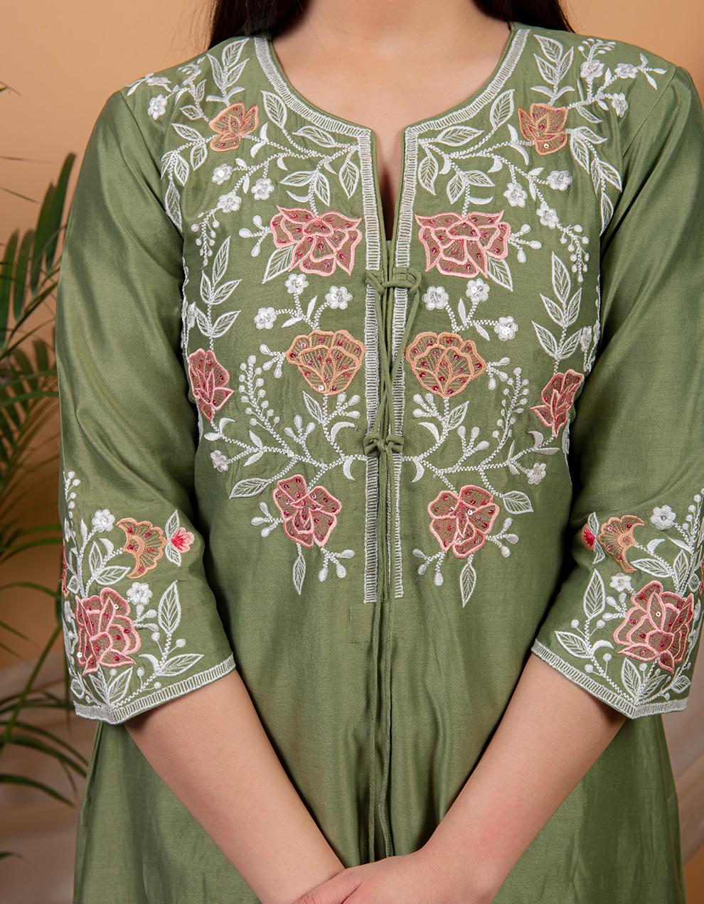 Green chanderi silk kurta with pallazzo - Set of 2