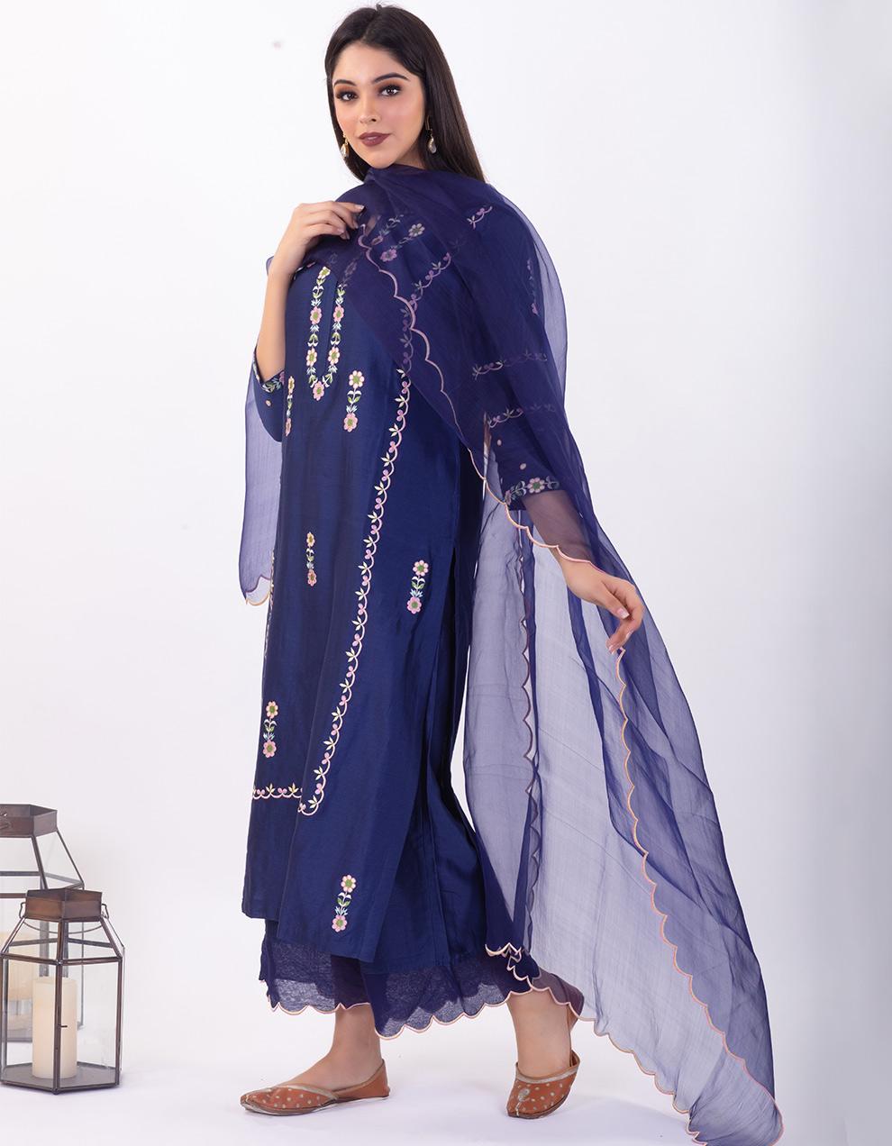 Blue embroidered chanderi silk kurta with silk palazzo - Set of 2