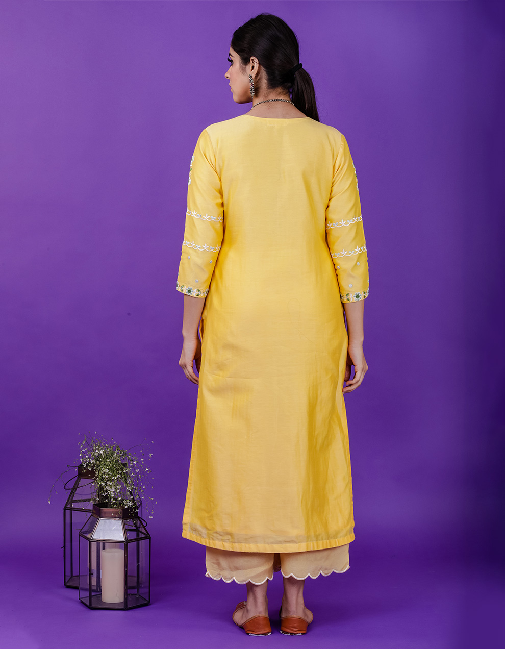 Yellow scalloped chanderi silk Pants