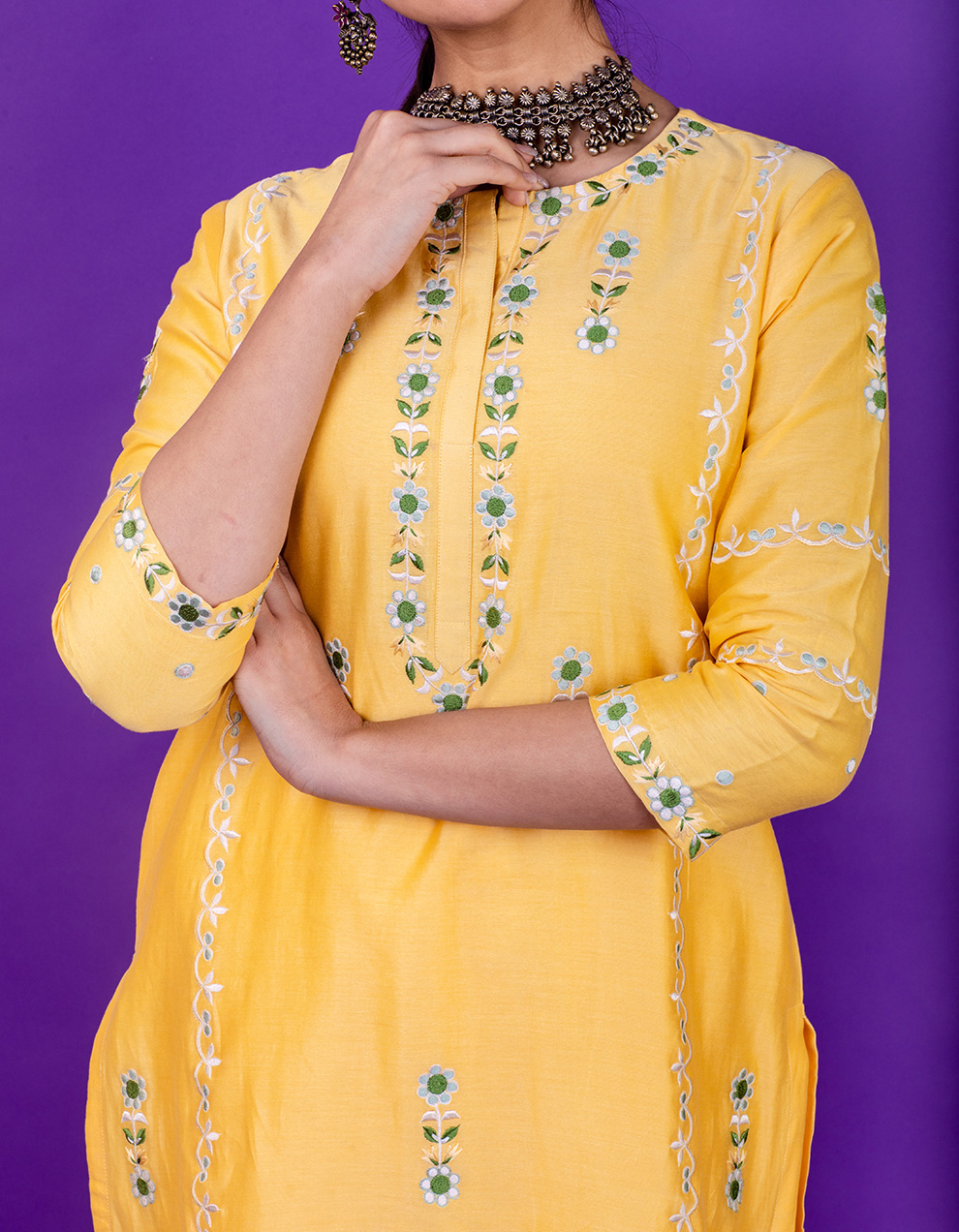 Yellow embroidered chanderi silk kurta