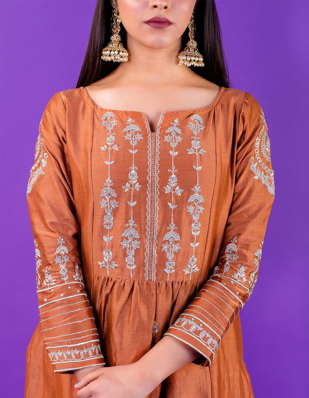 Brown hand embroidered chanderi silk kurta