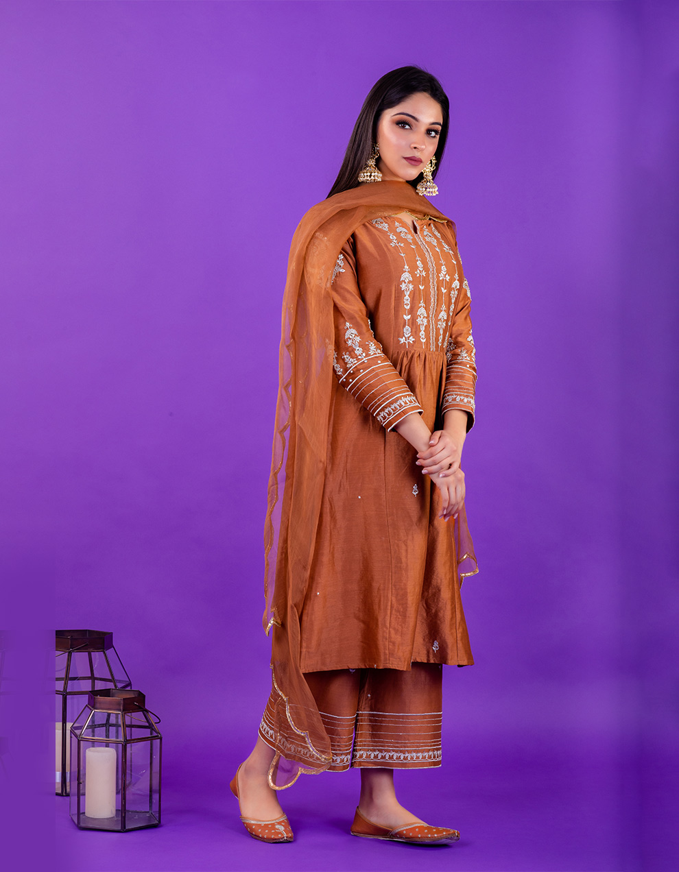 Brown hand embroidered chanderi silk kurta with silk pallazzo and organza dupatta- Set of 3