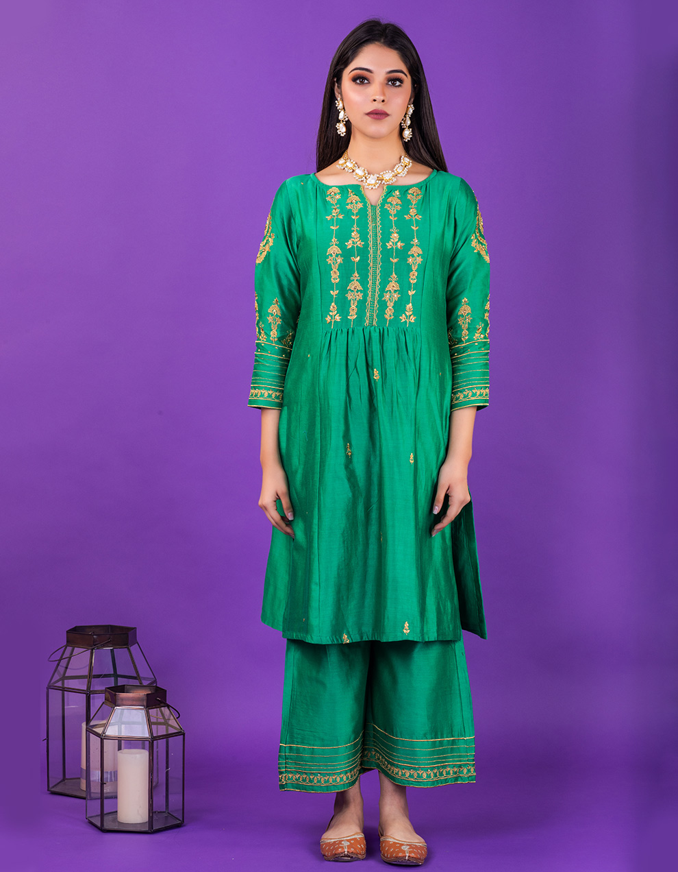 Green embroidered chanderi silk Pants