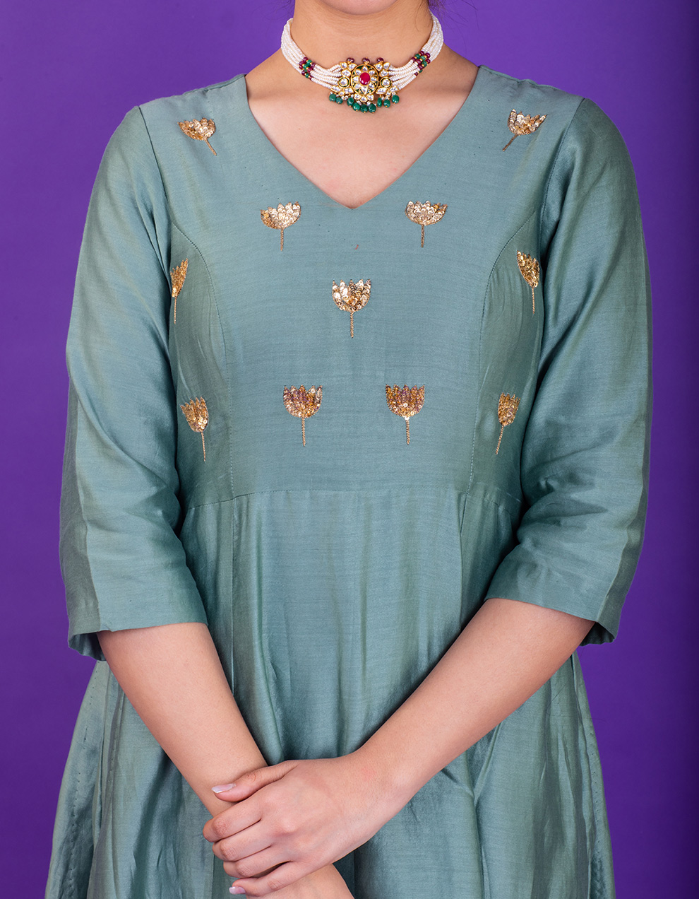 Sea Green hand embroidered chanderi silk kurta with silk palazzo - Set of 2